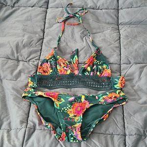 Xhilaration green floral print bikini
